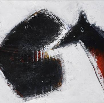 Le Loup Rouge, 27,5 x 27-cm, techniques mixtes sur toile, 2015