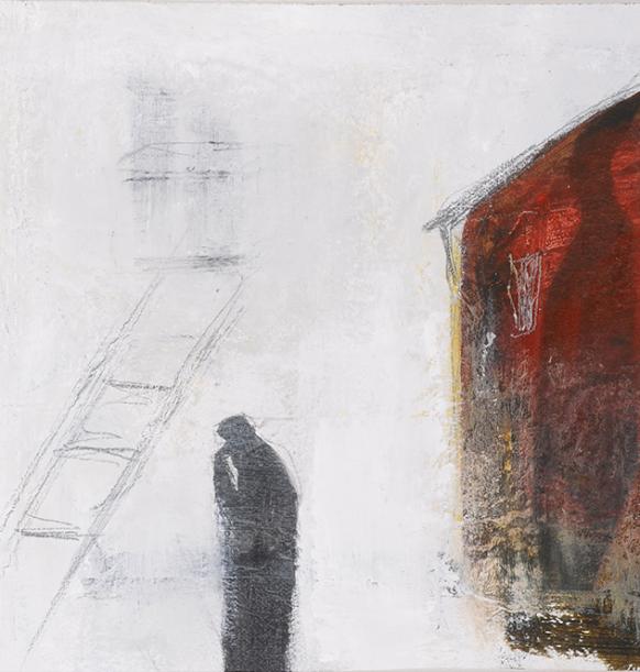 L'Echelle, 22,5 x 22,5 cm, techniques mixtes sur toile, 2015