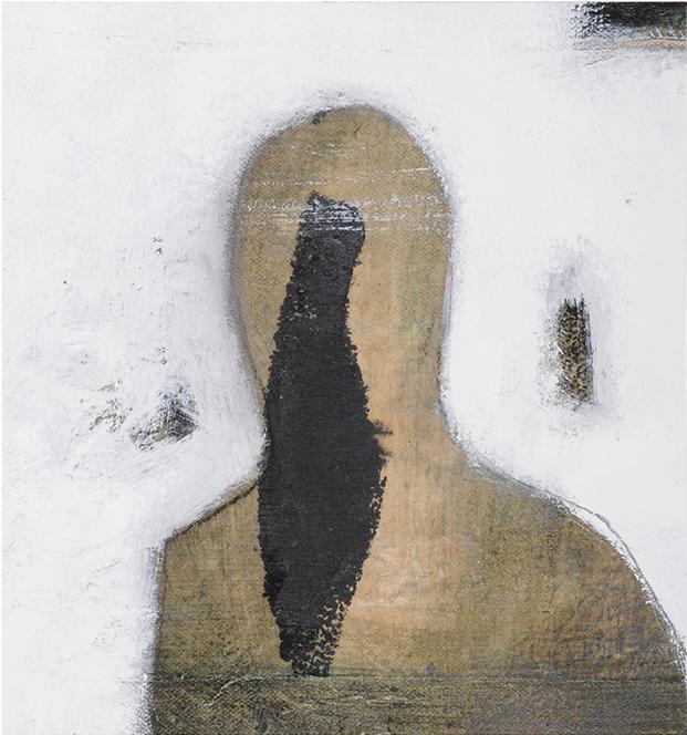 Tête et Silhouette, 22,5 x 20,5 cm, techniques mixtes sur toile, 2015